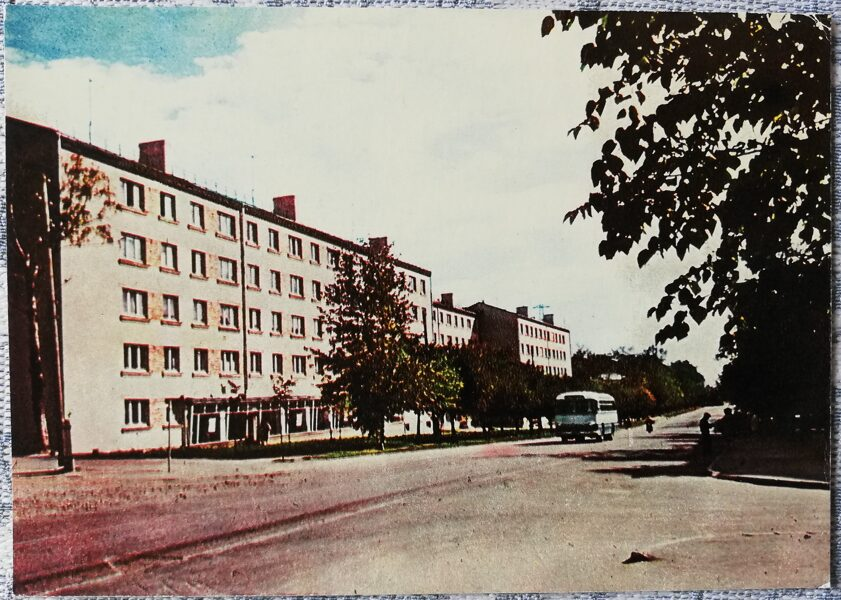 Rezekne 1965 New houses on First of May street 14x10 cm postcard