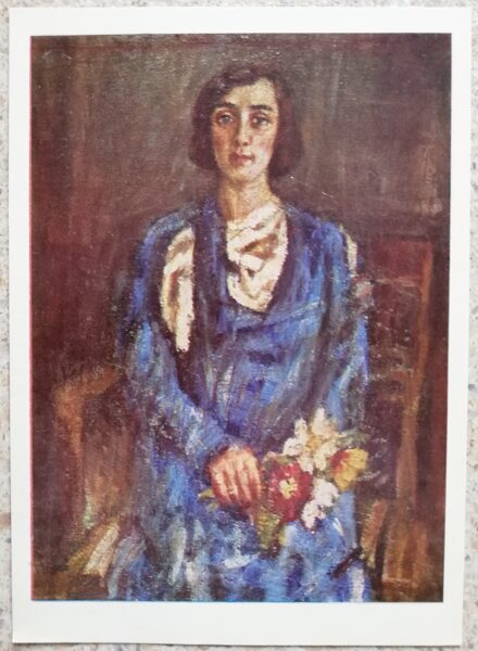 Vladas Eidukevičius 1968 Sieviete zilā kleitā 10,5x14,5 mākslas pastkarte