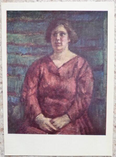Vladas Eidukevičius 1968 Sieviete sarkanā kleitā 10,5x14,5 mākslas pastkarte