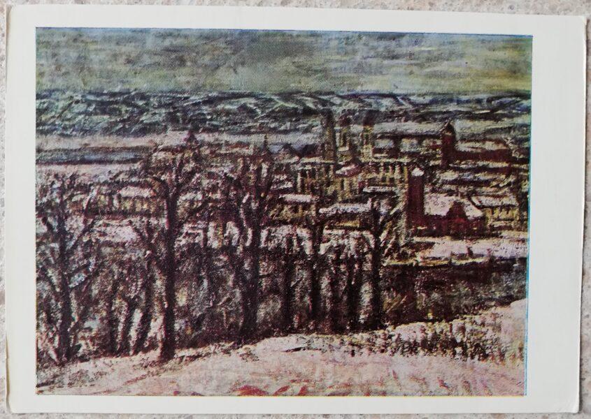Vladas Eidukevičius 1968 Kauņa ziemā Skats no Aleksotas 14,5x10,5 mākslas pastkarte
