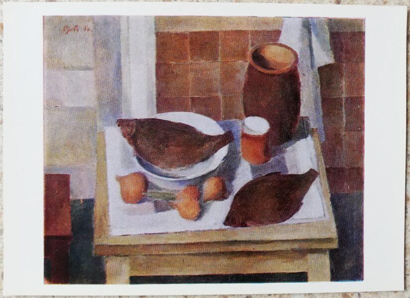 Vilis Ozols 1977 Still life with fish 15x10.5 cm postcard