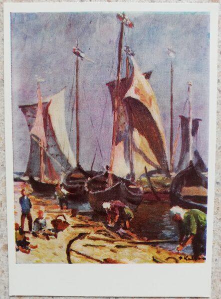 Petras Kalpokas 1966 Nida Lithuania 10,5x15 cm art postcard