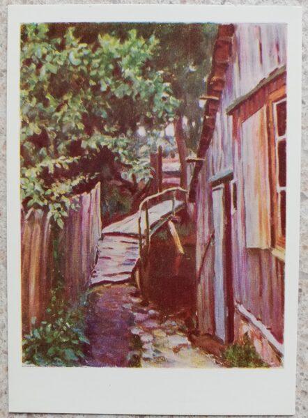 Petras Kalpokas 1966 Bridge over the Ronzu river in Palanga Lithuania 10.5x15 cm art postcard