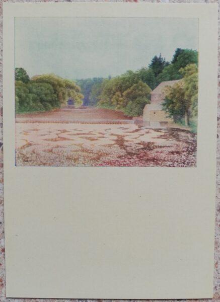 Lidija Meškaitīte 1969. gada vējdzirnavas Smukučai 10.5x14,5 cm mākslas pastkarte