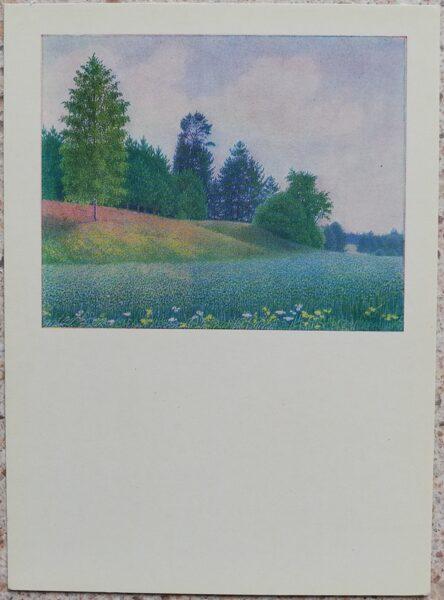 Lidija Meškaitīte 1969 Auzas 10,5x14,5 cm mākslas pastkarte
