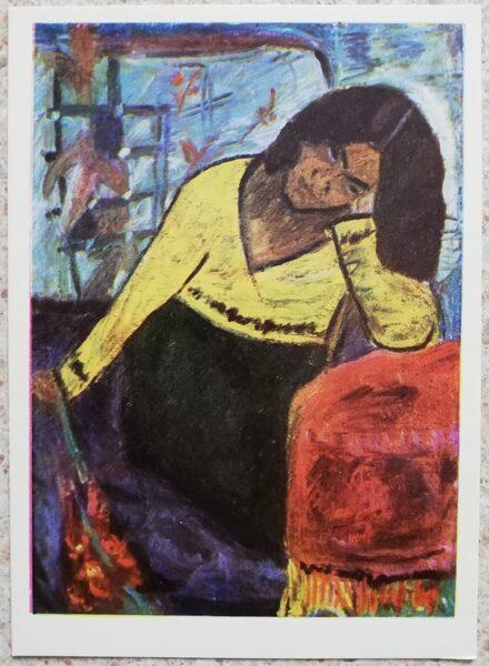 Antanas Samuolis 1967 Yellow woman 10.5x14.5 cm art postcard