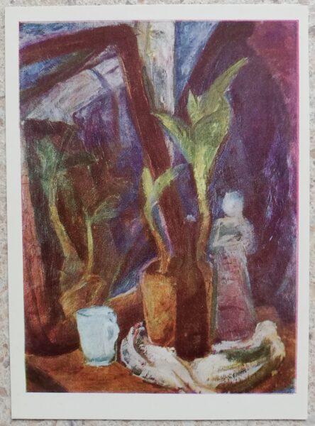 Antanas Samuolis 1967 Still life with a mirror 10.5x14.5 cm art postcard