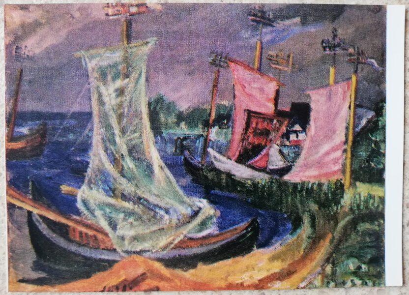 Antanas Gudaitis 1972 Boats Nida Lithuania 15x10.5 cm art postcard