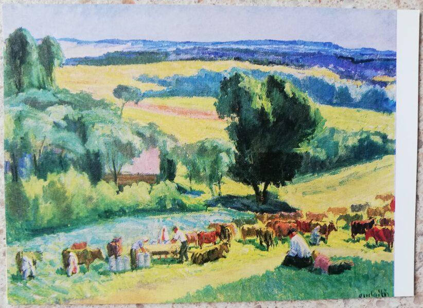 Antanas Gudaitis 1972 At Noon Cows 15x10.5 cm art postcard