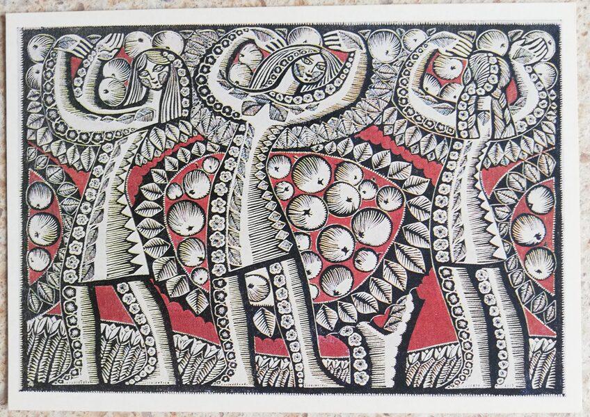 Aldona Skirutīte 1975. gadā Ābeles Dzintara zeme Lietuva 15x10,5 cm mākslas pastkarte linogriezums