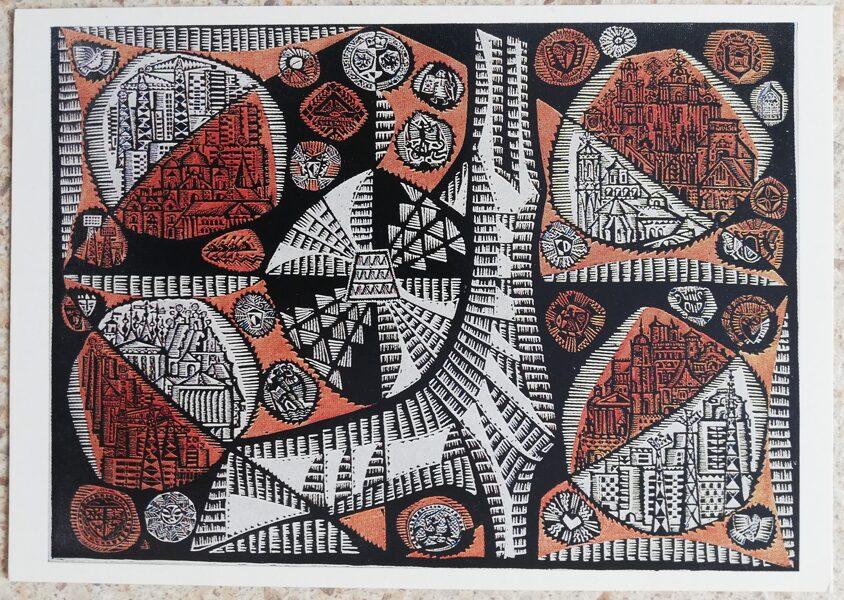 Aldona Skirutite 1975 Viļņa dzintara zeme Lietuva 15x10,5 cm mākslas pastkarte linogriezums