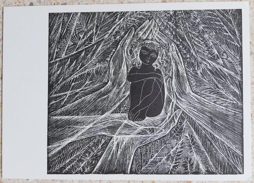 """Stasis Krasauskas 1975 E. Mezhelaitis """"Era"""" ilustrācija 15x10,5 mākslas pastkarte Autozinkogrāfija"""