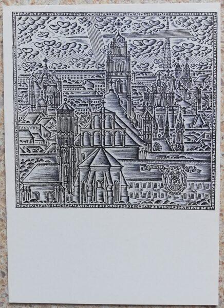 Rimtautas Gibavičus 1976 Viļņas skats no Bekeša kalna 10,5x15 mākslas pastkarte