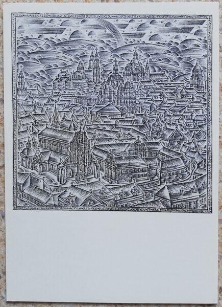 Rimtautas Gibavičius 1976 Skats uz Viļņu no Basanavičius kalna 10,5x15 mākslas pastkarte