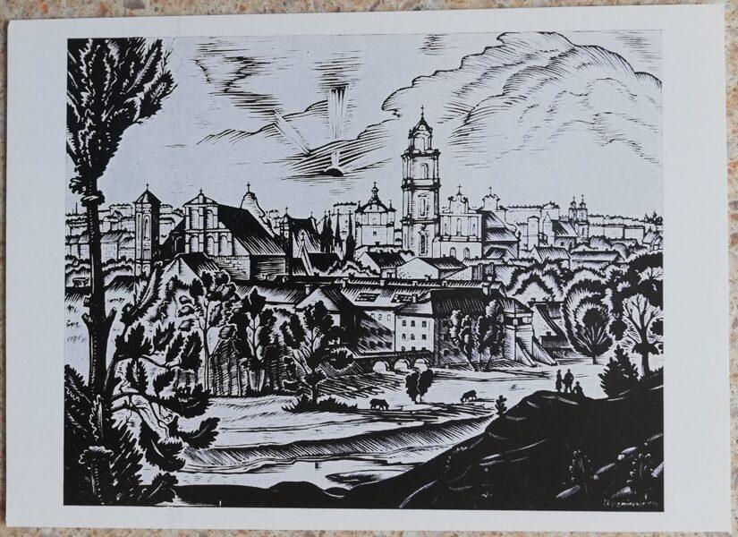 Jonas Kuzminskis 1976 Viļņas panorāma 15x10,5 mākslas pastkarte