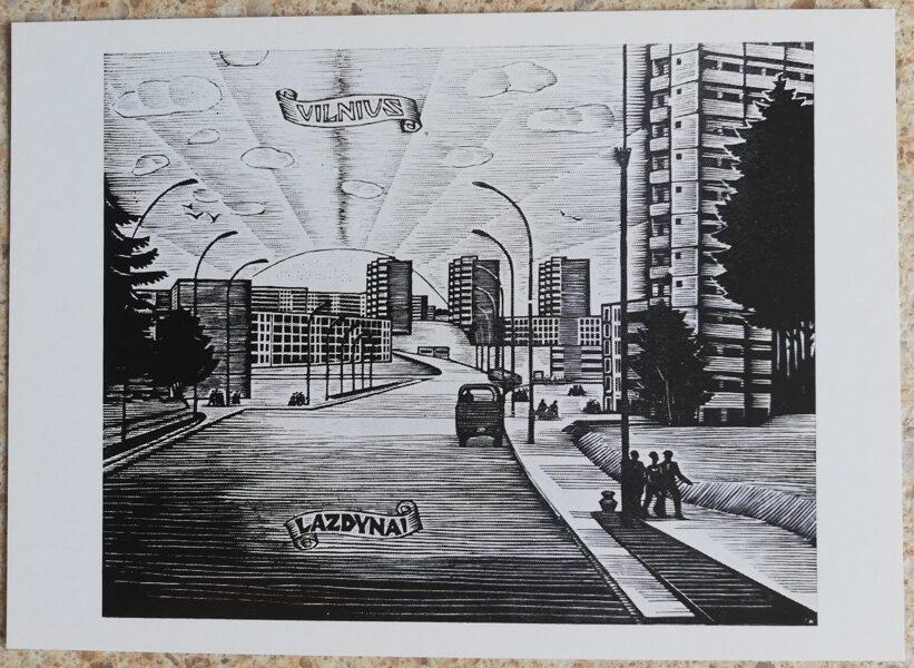 Jonas Kuzminskis 1976 Viļņas Lazdinai 15x10,5 mākslas pastkarte