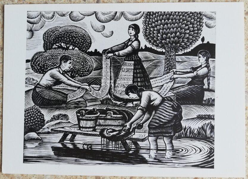 Jonas Kuzminskis 1976 Meitenes tur mazgāja drēbes 15x10,5 mākslas pastkarte
