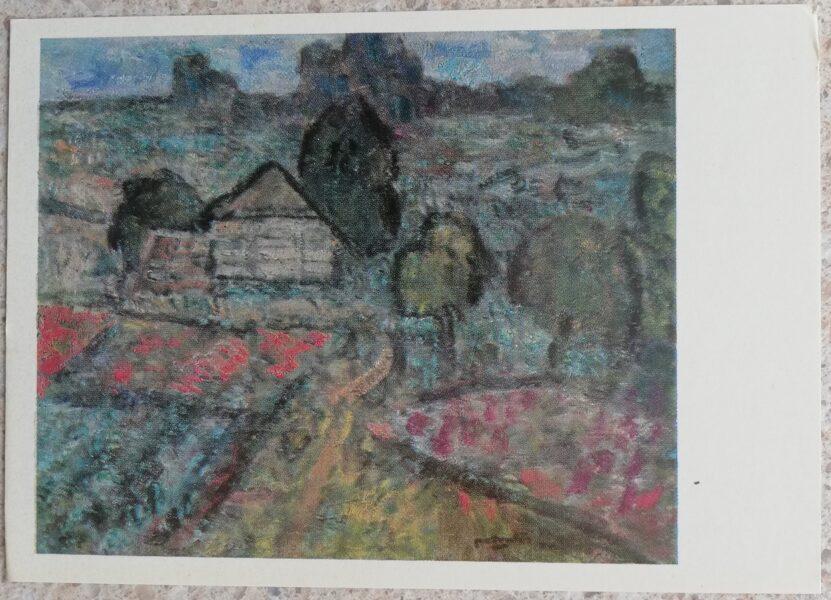 Algirdas Petrulis 1972 Old hayloft 15x10.5 art postcard