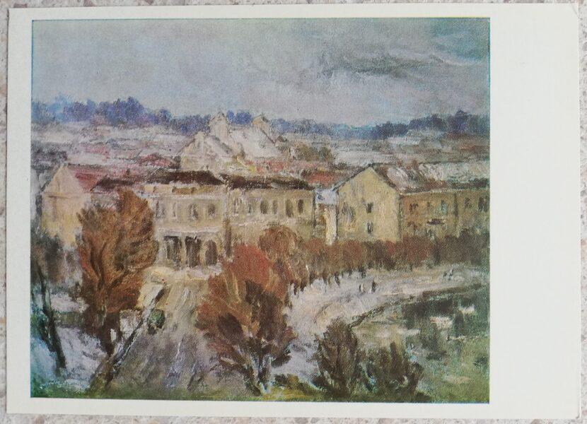 Algirdas Petrulis 1972 Vilnius in winter 15x10.5 art postcard