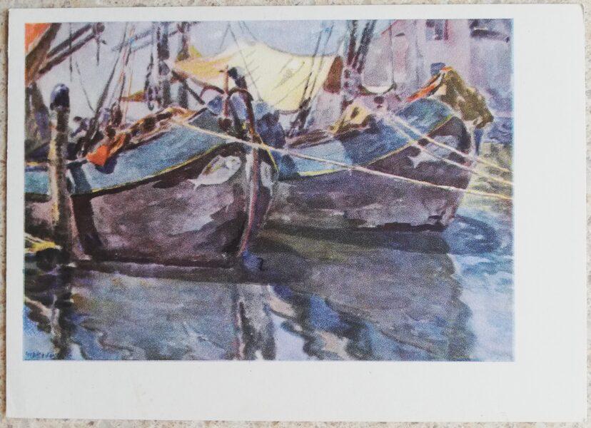 Kajetonas Sklerius 1964 Kjodža, laivas ar zivtiņām 15x10,5 mākslas pastkarte