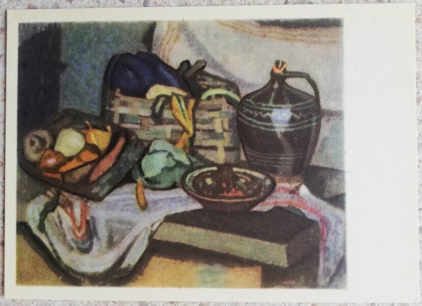 Justinas Venozhinskis 1966 Still life with vegetables 15x10,5 art postcard