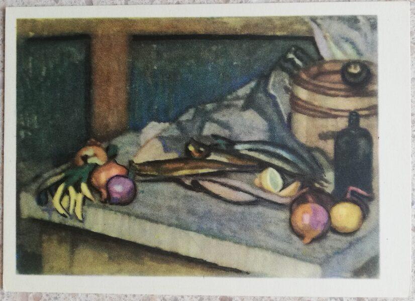 Justinas Venozhinskis 1966 Still life with herring 15x10.5 art postcard