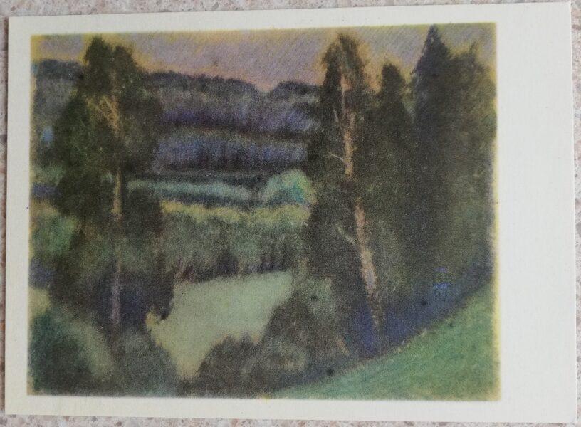 Justinas Venozhinskis 1966 Anykščiai forest 15x10.5 art postcard