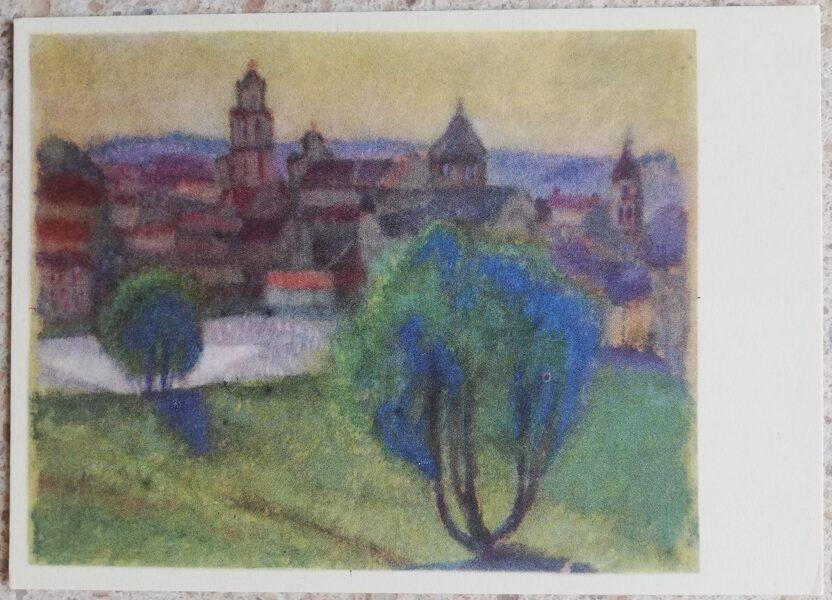 Justinas Venozhinskis 1966 View of Vilnius from Subačiaus street 15x10.5 art postcard