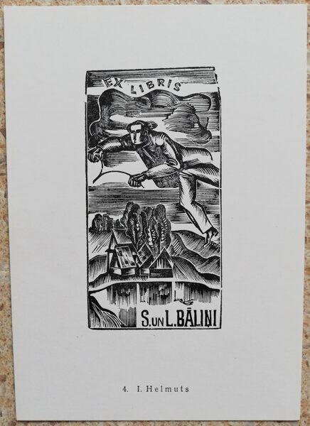 Inars Helmuts 1977 Ex-libris S. and L. Balynia 10,5x15 art postcard