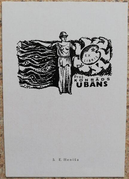 Eyjenia Henisch 1977 Ex-libris of Professor Konrad Ubans 10,5x15 art postcard