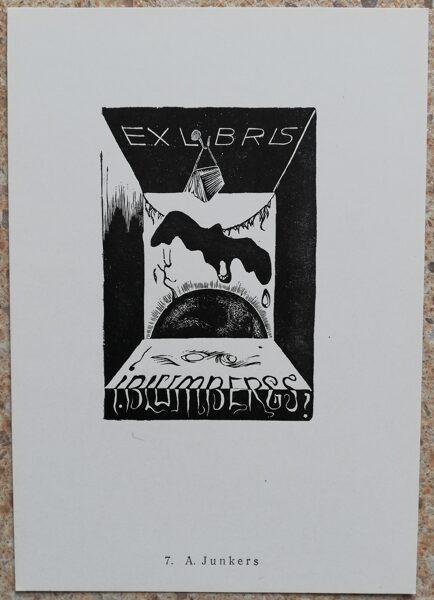 Aleksandrs Jurkens 1977 Ex-libris by I. Bloomberg 10,5x15 art postcard