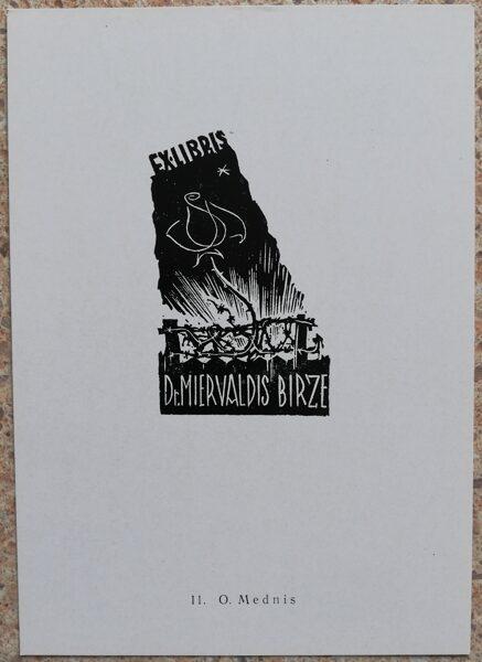 Oto Mednis 1977 Ex-libris of Dr. Miervaldis Birze 10,5x15 art postcard