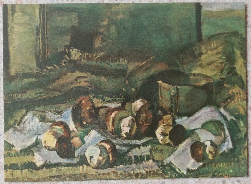 Julis Vilyumainis 1968 Porcini mushrooms 14x10 cm art postcard still life