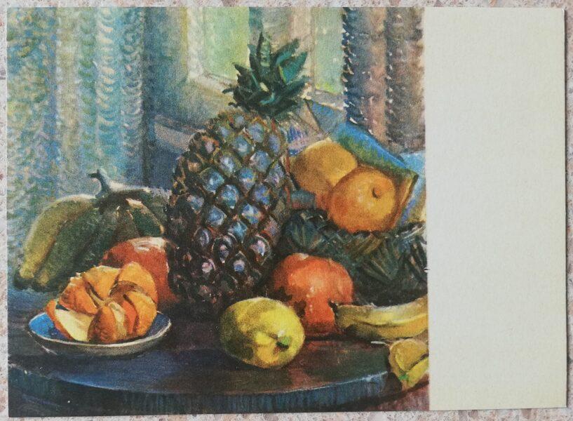 Karlis Celmins 1968 Still life with pineapple 14x10 cm art postcard
