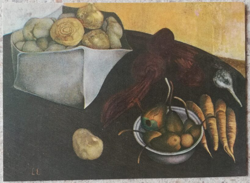 Livia Endzelina 1968 Still life with carrots and beets 14x10 cm art postcard
