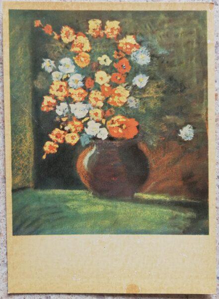 Voldemars Irbe 1966 Flowers 10x14 cm art postcard Still life