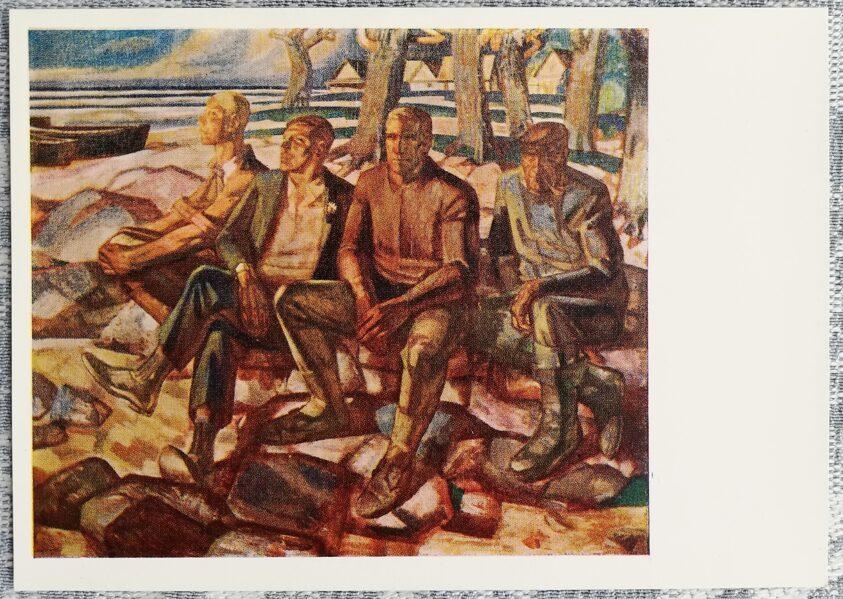 Edgars Iltners 1970 Tās pašas laivas zēni 15x10,5 cm mākslas pastkarte