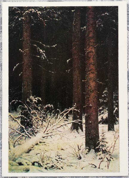 """Ivans Šiškins 1976 """"Egļu mežs ziemā"""" 10,5x15 cm"""