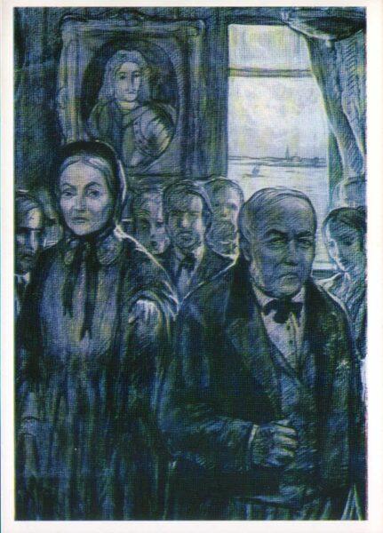 "Iļja Glazunovs 1976. gads ""Tatjana Markovna un Nils Andreevičs."" mākslas pastkarte 10,5x15 cm"