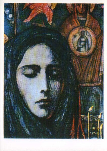 """Iļja Glazunovs 1976. gads """"Vera kapelā."""" mākslas pastkarte 10,5x15 cm"""