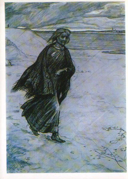 """Iļja Glazunovs 1976. gads """"Vecmāmiņas promiešana."""" mākslas pastkarte 10,5x15 cm"""
