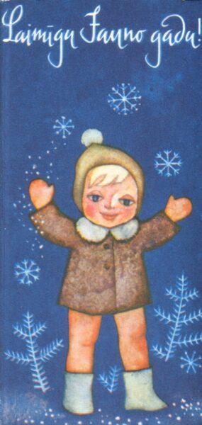 """Apsveikuma pastkarte """"Laimīgu Jauno gadu"""" 7*14 cm PSRS perioda suvenīrs."""