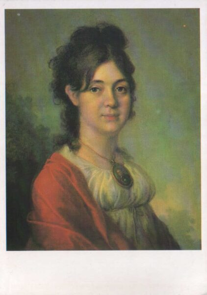 """Vladimirs Borovikovskis 1987. gads """"Nezināmās portrets"""" mākslas pastkarte 10,5x15 cm"""