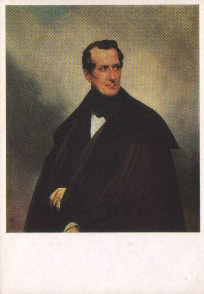 """Kārlis Brilovs 1989. gads """"Pilsonieša Vladimira Aleksejeviča Musina-Puškina portrets"""" mākslas pastkarte 10,5x15 cm"""