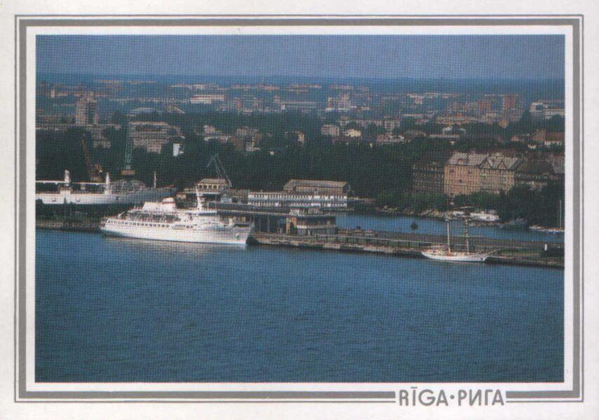 """Latvija. Rīga. 1989. gada pastkarte """"Rīgas jūras osta."""" 15x10,5 cm."""