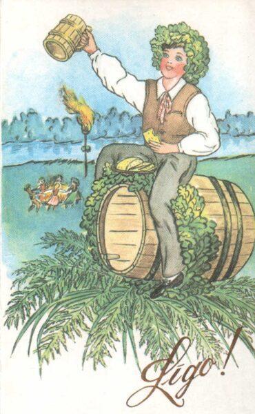 """Apsveikuma pastkarte 1992. gada """"Līgo"""" 9x14 cm Preses nams"""