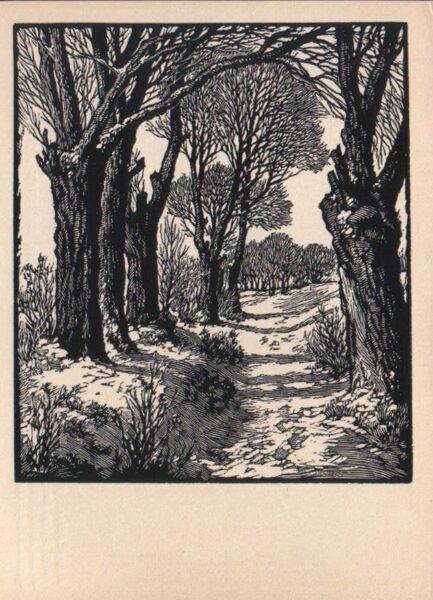 """Arturs Duburs """"Ziema"""" 1970. gada mākslas pastkarte 10x14 cm"""