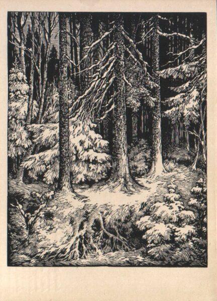 """Arturs Duburs """"Mežs ziemā"""" 1970. gada mākslas pastkarte 10x14 cm"""