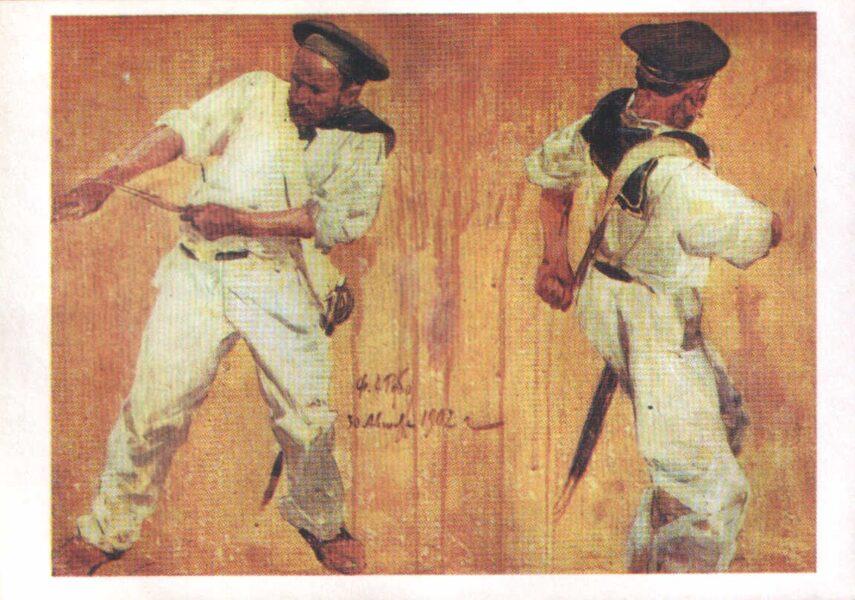 """Francs Rubo 1982. gads """"Jūrnieki, kas velk virvi."""" mākslas pastkarte 15x10,5 cm"""