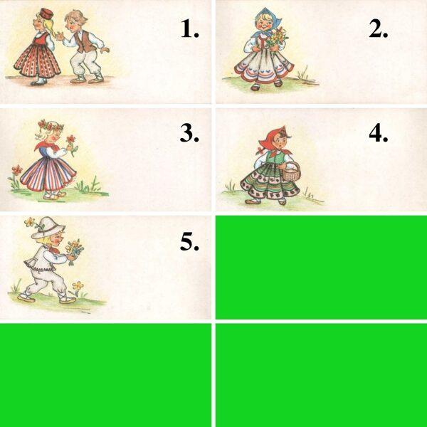 1984 mini greeting card 11,5x5,5 cm K. Birze Folk costumes